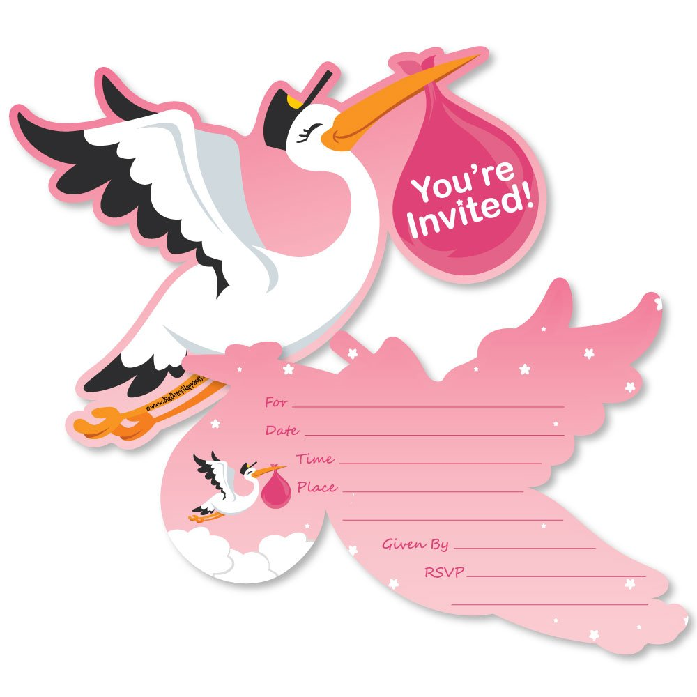 Girl Special Delivery Shaped Fill in Invitations Pink It's A Girl Stork Baby Shower Invitation Cards with Envelopes Set of 12