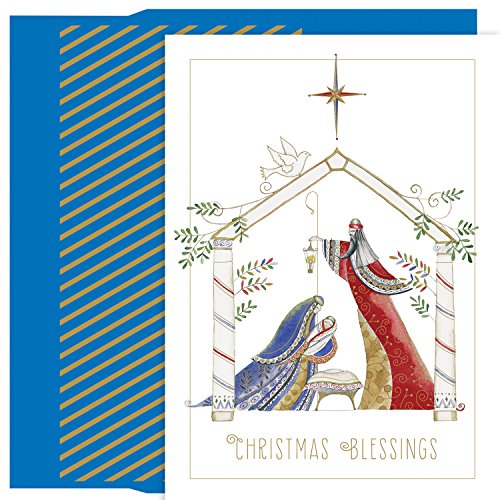 Masterpiece Holiday Collection Petites 18-Count Christmas Cards, Contemporary - Collection Blessings Nativity