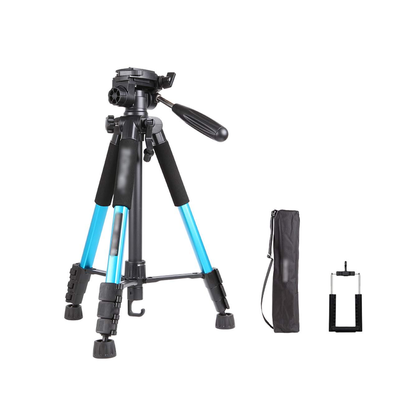 カメラの三脚、ポータブル軽いアルミボディ、旅行屋外写真一眼レフカメラと携帯電話三脚、安全な耐荷重3KG、キャリングケースと携帯電話クリップ、マルチカラーオプション (色 : 青) B07KXS23SQ 青