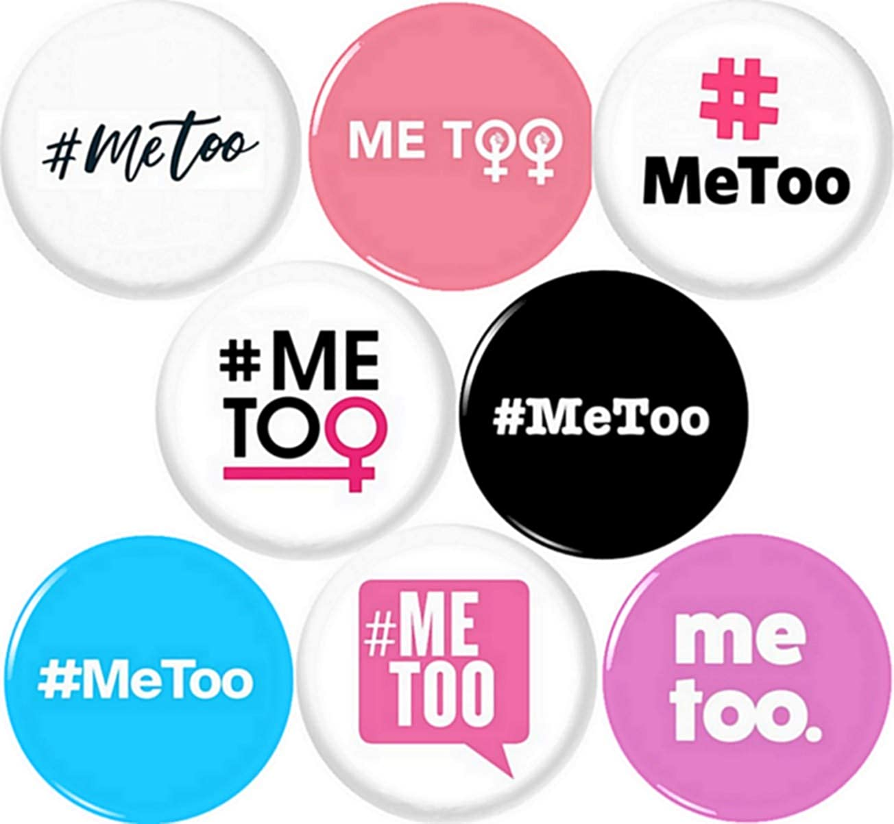 "ME TOO x 8 NEW 1/"" buttons pins badges METOO #METOO times up believe her I You"