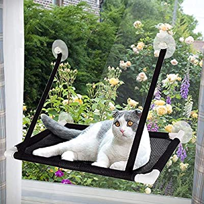 Afufu Cat Hammocks Window, Cat Window Seat, Sunny Seat Window Cat Perches 4 Big Suction Cups Holds Up 20kg, Space Saving and Safety Mounted Cat Bed (Black)