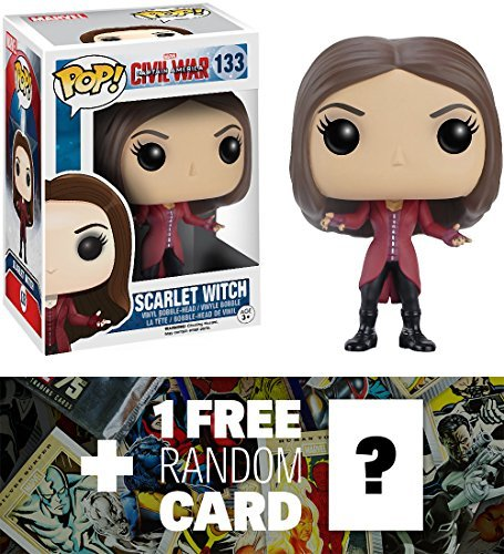 Scarlet Witch: Funko POP! x Captain America Civil War Bobble-Head Figure + 1 FREE Official Marvel Trading Card Bundle [72315]
