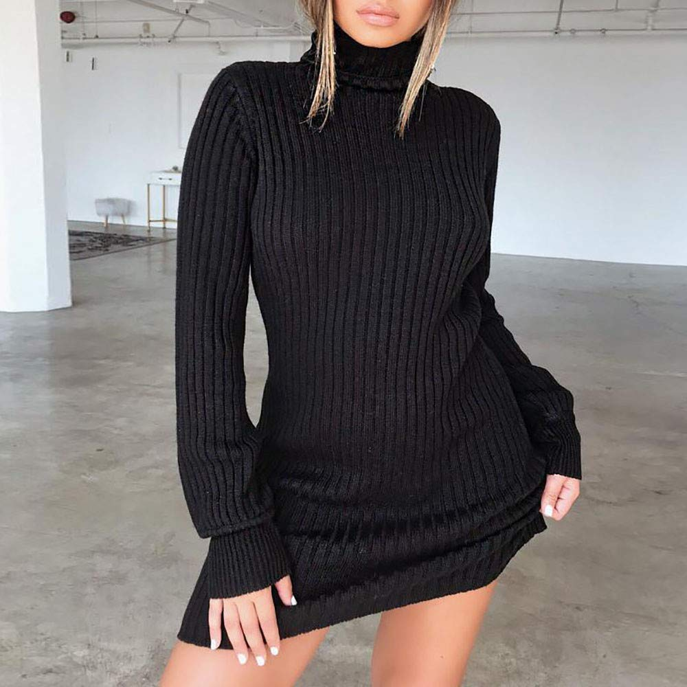 Liraly Dress for Women Ladies Casual Long Sleeve Jumper Turtleneck Sweaters Dresses