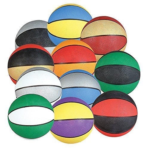 4-PK Assorted Mini 7'' Rubber Basketballs Party Favors by PlayTime by M & M Products Online