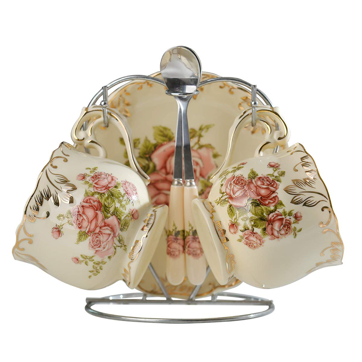 European Rose Pattern with Golden Leaf Edge Ivory Ceramic Tea Cup and Saucer with Spoon,Pack of 2 with Silver Metal Rack