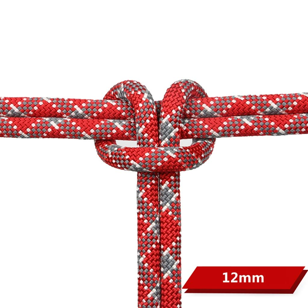 12mm LXYFMS Corde d'escalade Corde de Travail Corde Statique Escalade Escalade en Plein air Vitesse Goutte Corde air 11mm   12mm Rouge gris Corde d'alpinisme (Couleur   12MM, Taille   10M(32.8FT)) 60M(196.8FT)