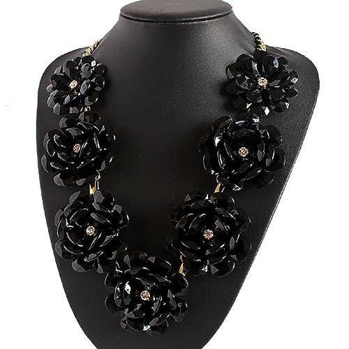 Amazon Hobst Black Flower Statement Necklace Bib Bubble Collar