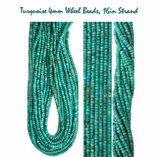Genuine Turquoise 4mm Wheel Beads for Jewelry Making, One 16 inch (Kingman Turquoise Necklace)