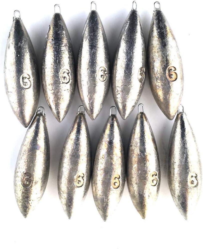 Peso de 1 a 6 oz Plomo Bomba para Pesca de Playa 10 Unidades BZS