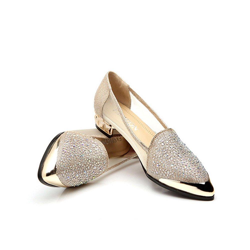 Damenschuhe Tuuml;ll Fruuml;hling Sommer Slip-Ons Loafers Komfort Sandalen Block Heel Spitz Strass fuuml;r Gold, Silber  37 EU|B