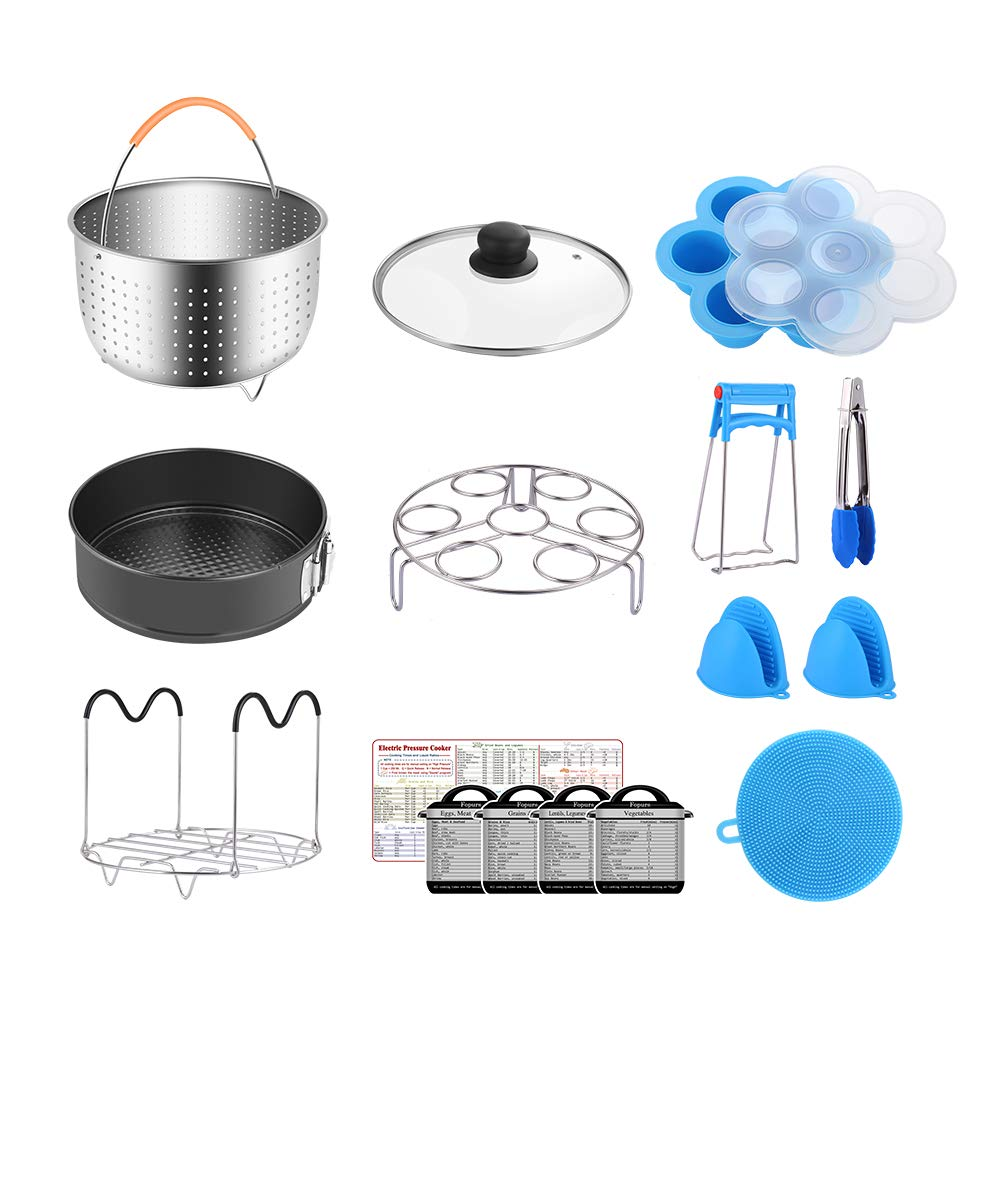Fopurs 8 Quart Pressure Cookers Accessories Set, Compatible with Instant Pot 8 Qt [6Qt Available], Steamer Basket, Glass Lid, Egg Bites Mold, Springform Pan, 5 Cooking time Magnets and more, 16pcs by Fopurs