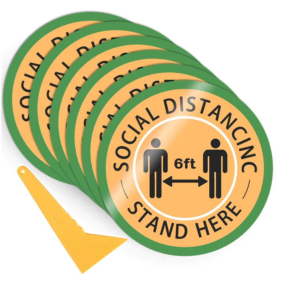 10 Pack Social Distance Floor Stickers