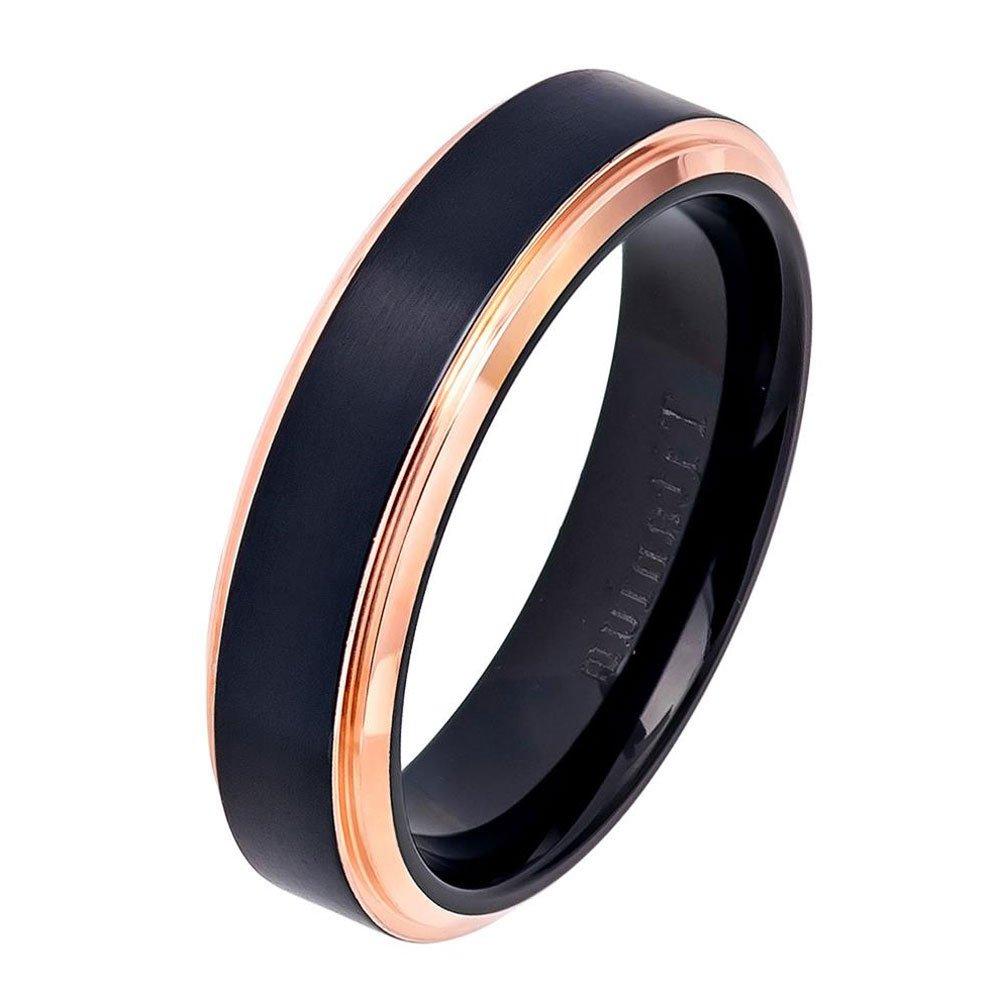 Size 5 to 12 Double Accent 6MM Comfort Fit Titanium Wedding Band Black Brushed Rose Tone Step Edge Titanium Ring