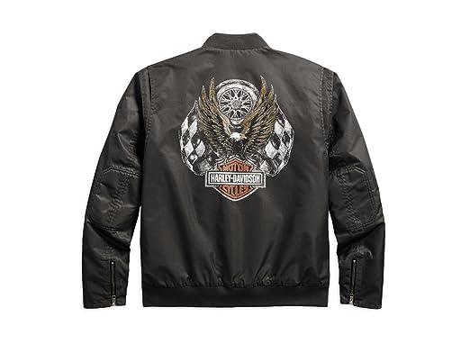 Harley Davidson Men s Check ered Flag Eagle Bomber Chaqueta ...