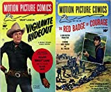 Motion Picture Comics. Issues 104 and 105. Features Rocky Lane in Vigilante Hideout, Fast shooting action and The red badge of courage starring Audie Murphy ... and Bill Mauldin. Golden Age Digital Comics