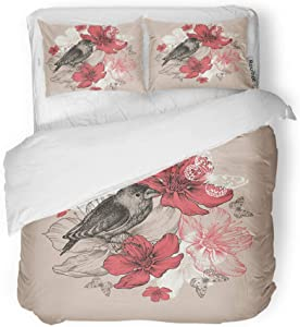 rouihot Duvet Cover Set Twin Size Vintage Flower Bird Butterfly and Flowering Apple Trees Blossom 3 Piece Microfiber Fabric Decor Bedding Sets for Bedroom