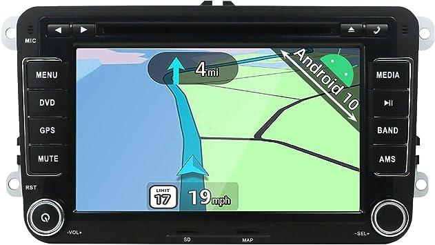 YUNTX Android 10 Autoradio Compatible con Golf/Skoda/Seat- GPS 2 DIN - Cámara Trasera Libre & Canbus & Mic- 7 Pulgadas - Soporte Dab +/ Control del ...