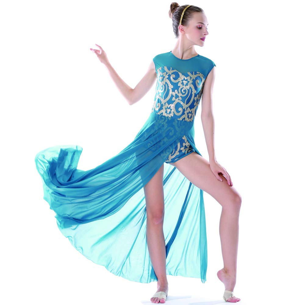 MiDee Lyrical Dress Dance Costume 4 Colors Floral Sequin Tank Leotard Maxi Skirt (PA, Turquoise) by MiDee