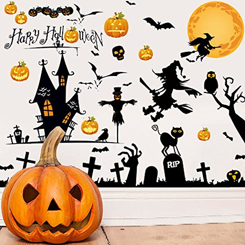 DASARA 1Pc Removable Halloween Pumpkin Witch Moon Bat Wall Sticker Backdrop Decal Decor ()
