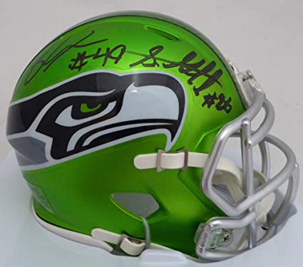 Shaquem   Shaquill Griffin Signed Auto Seattle Seahawks Green Blaze Speed  Mini Helmet - Certified Authentic 6cc14c5c2