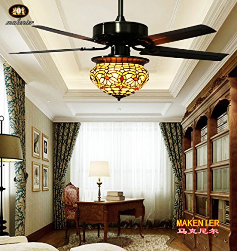 Makenier Vintage Tiffany Style Stained Glass Lotus Single-light Lampshade Ceiling Fan Light Kit, with Metal Blades (Tiffany Style Ceiling Fans compare prices)