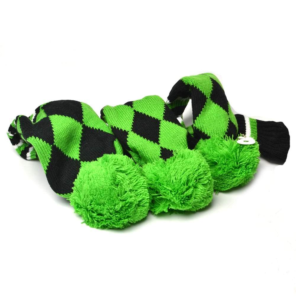 GOOACTION Drivers, Fairway Woods, Hybrids 3pcs Green and Black Checkered Pattern Pom Pom Sock Set Vintange Knit Universal Golf Head Covers Fit for All Golf Brands by GOOACTION