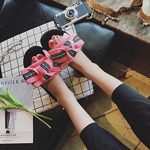 LINGMIN Non Comfort Cute Bowtie Slippers Rose Red Womens Decorate Slip Velvet UU1nrYS
