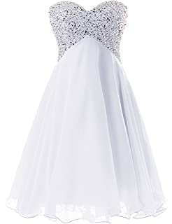 b26afdd1e7e Dressystar Robe de Demoiselle d honneur Bustier Perlée Femme Fille à  Paillettes en Mousseline