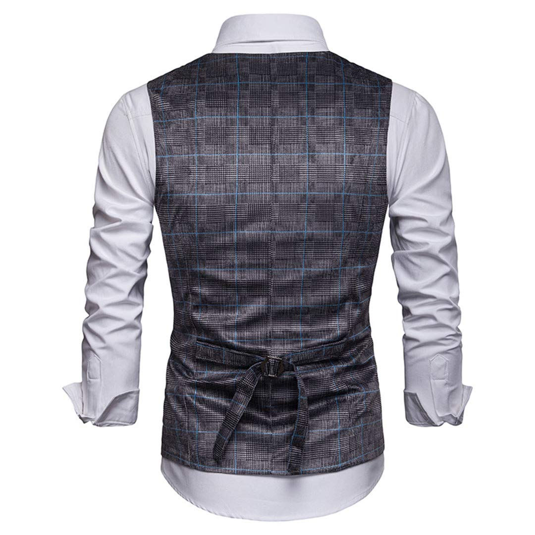 Mens Double-Breasted Suit Vests Casual Plaid Tuxedo Waistcoat Jacket