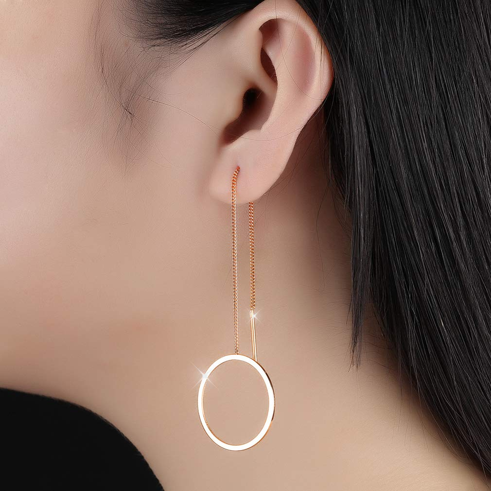 Wonlines Fashion Rose Gold Stainless Steel Round Dangle Earrings