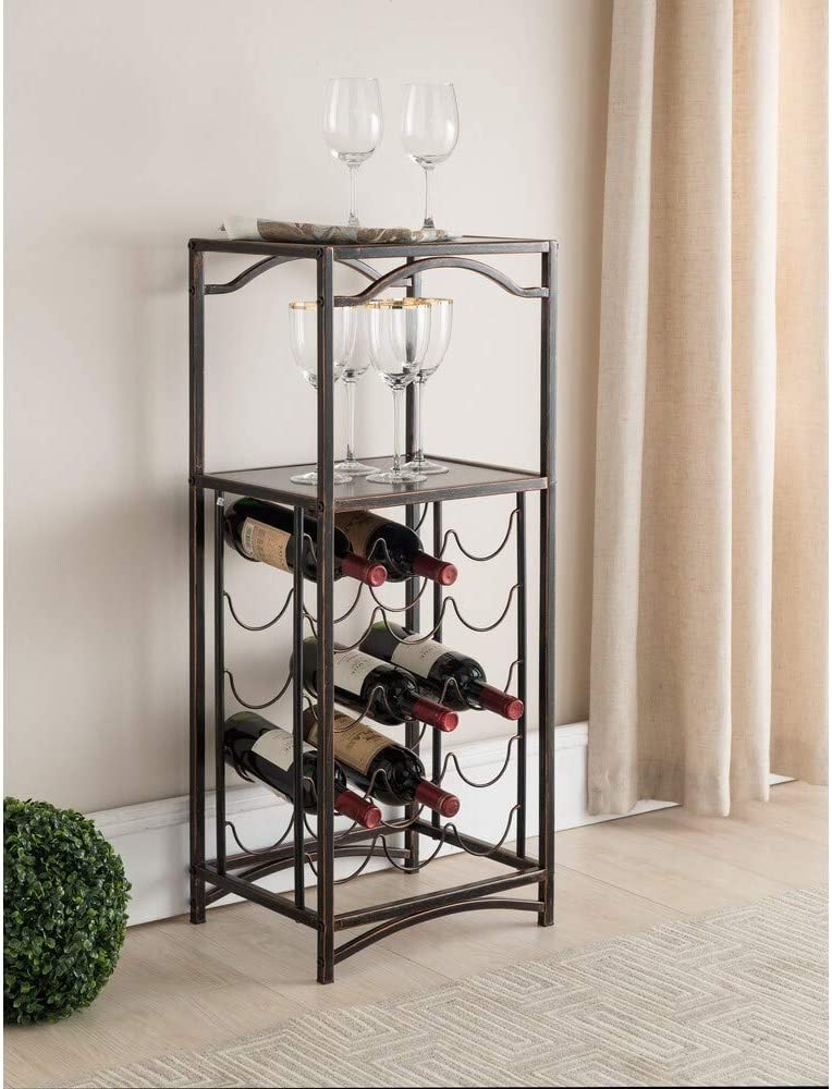 K and B Furniture Co Inc Brushed Copper Metal Storage Wine Rack