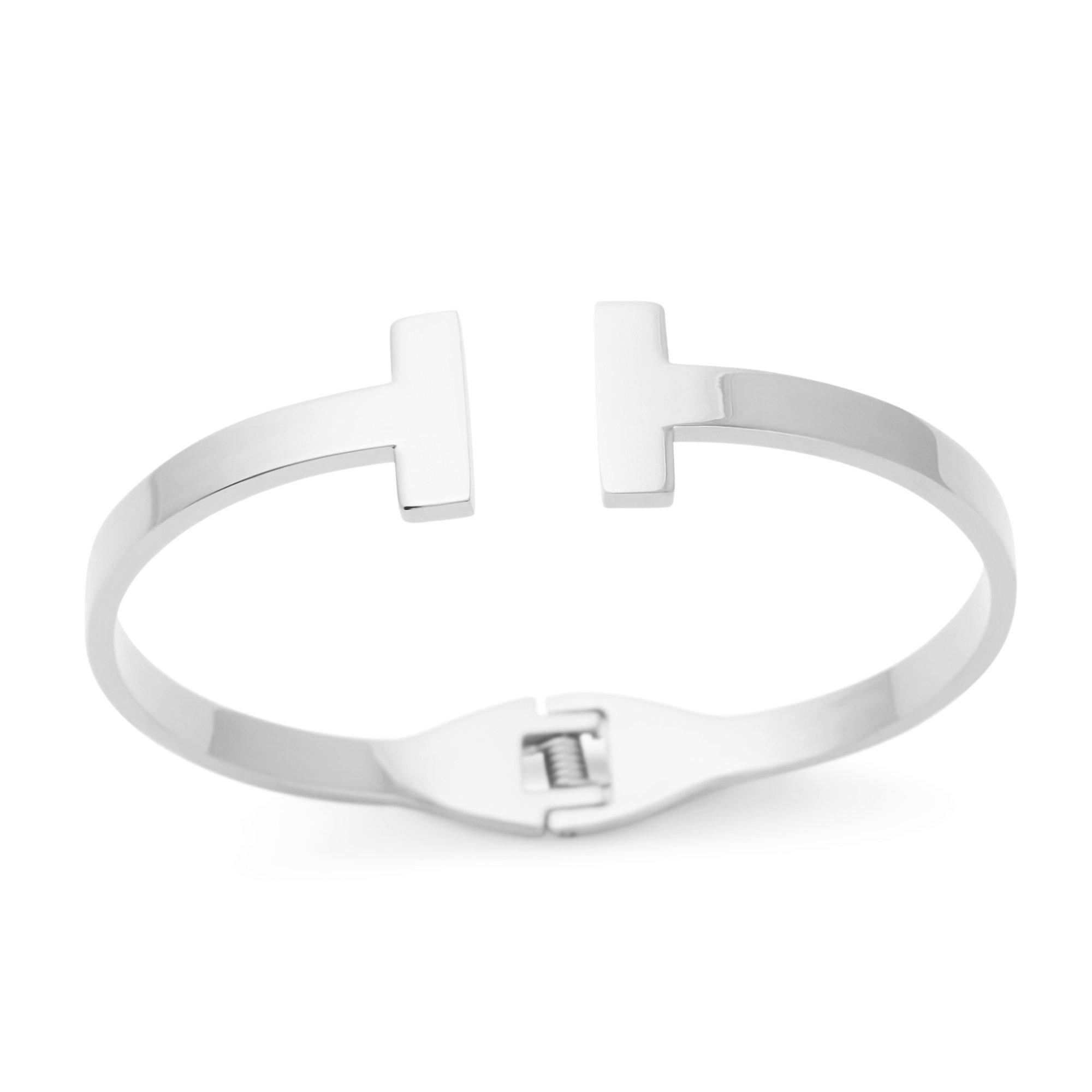Toi&Moi T Bar Open Bangle   Double T Cuff (Silver)