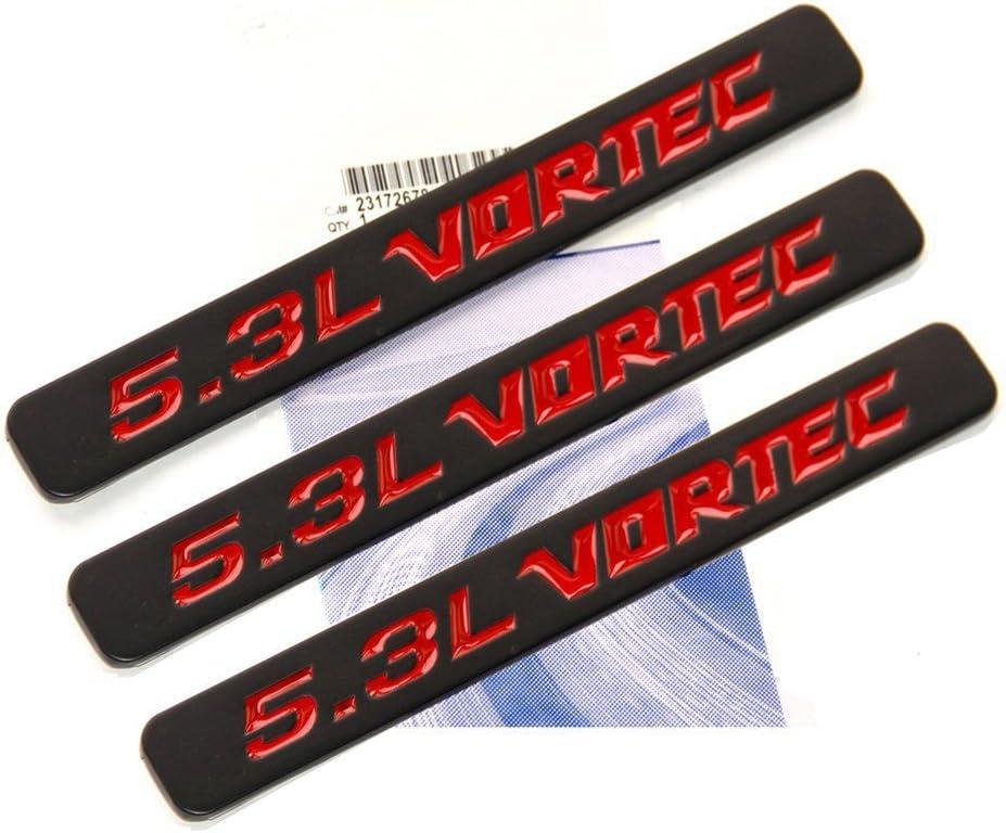 2x OEM 5.3L VORTEC Emblem  HOOD Engine Badge 3D for Silverado GM Sierra Black I