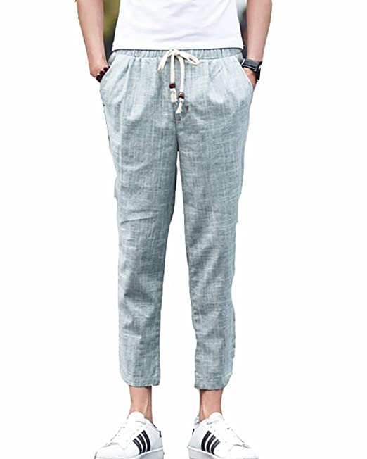 a2817544782 TieNew Verano Cómodo Pantalones Cagados De Lino para Hombres Slim Casual  Recto Bermudas Shorts Pantalones,