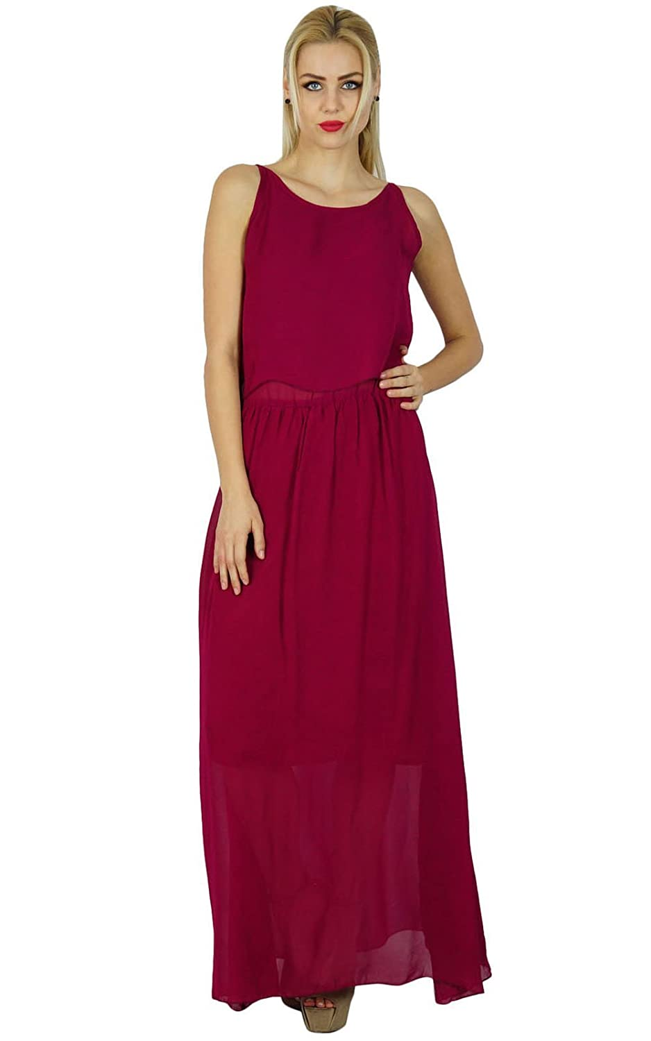 Bimba Women Long Maxi Half Lined Georgette Made Sleeveless Custom Dress