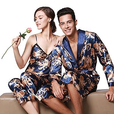Satin Robe Chinese Dragon and Phoenix Robe Pajamas Silk Sleepwear Kimono Nightgown Bathrobe Men/Women