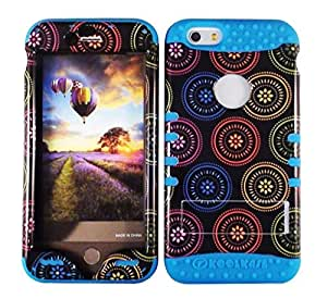 Cellphone Trendz New 3-piece HARD & SOFT RUBBER HYBRID ROCKER HIGH IMPACT PROTECTIVE CASE COVER for Apple iPhone 6 4.7 inch 6th Generation - Colorful Circular Design Hard Case on Blue Silicone