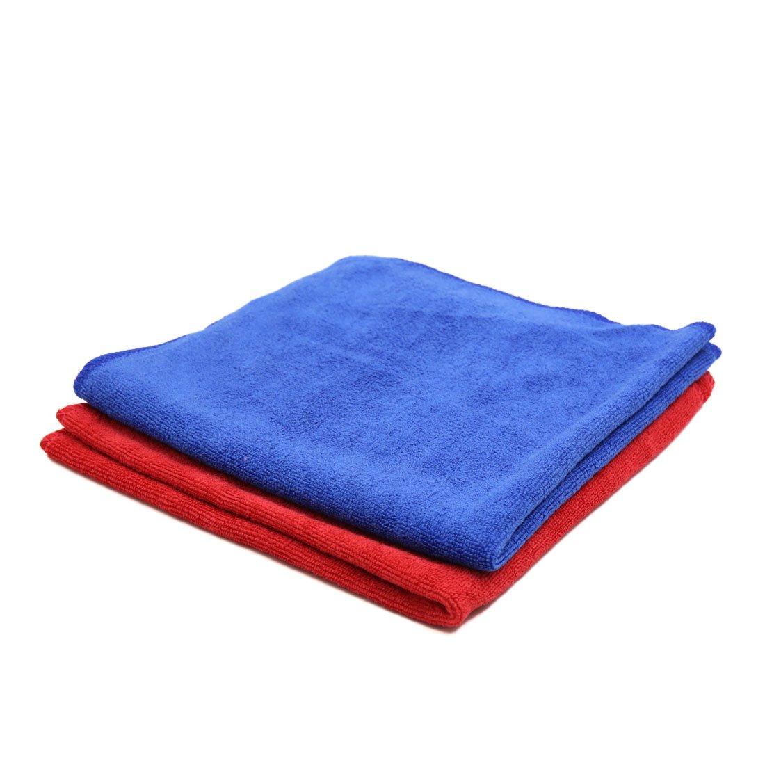 sourcingmap 2pz 40 x 40cm 300gsm in microfibra asciugamano auto Lavaggio Asciugatura panno rosso blu sourcing map a17030600ux0185