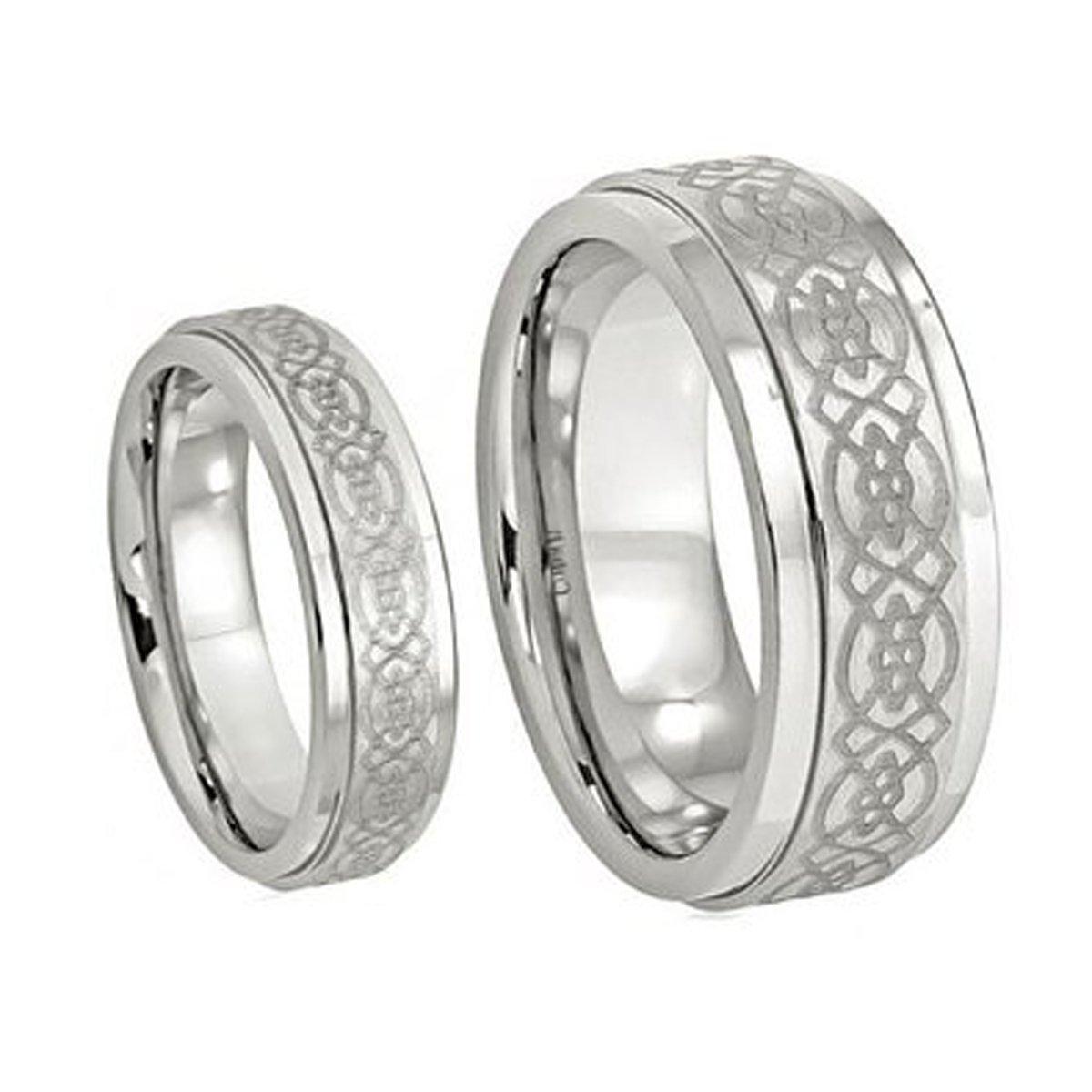 Sizes 6-13 Including Half Sizes .Please e-mail sizes Mens /& Ladies 8MM//6MM Cobalt Wedding Band Ring Set w//Laser Etched Celtic Design