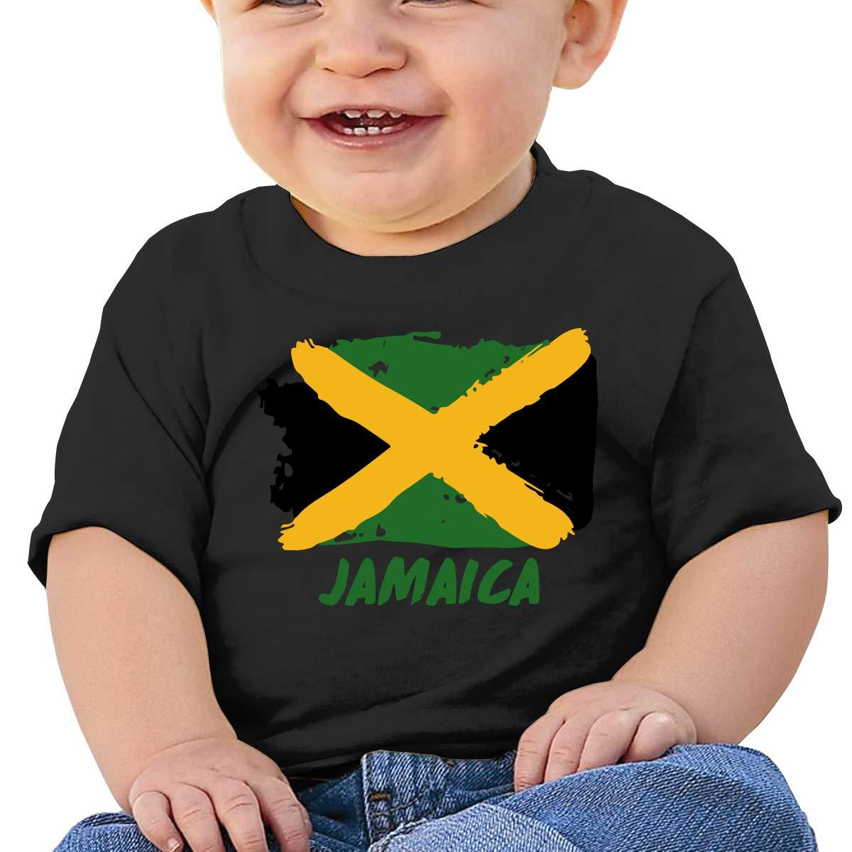 ZUGFGF-S3 Jamaica Flag Baby Girl Newborn Short Sleeve T-Shirt 6-24 Month Cotton Tops