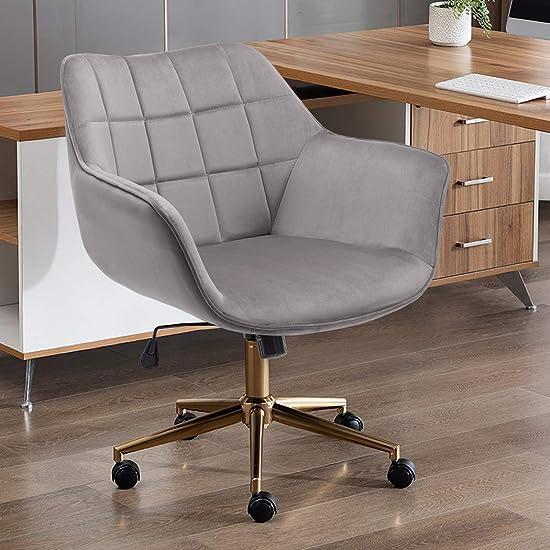 Duhome Grey Home Office Chair Velvet Desk Chair Cute Grey Chair Swivel Chair