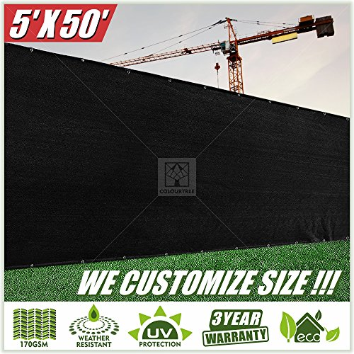 ColourTree 5' x 50' Fence Privacy Screen Windscreen Cover Fabric Shade Tarp Plant Greenhouse Netting Mesh Cloth Black - Commercial Grade Custom (1, 5' x 50')