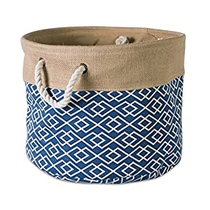 "DII Collapsible Burlap Storage Basket or Bin with Durable Cotton Handles, Home Organizational Solution for Office, Bedroom, Closet, Toys, & Laundry (Large Round - 16x15""), Diamond Navy"
