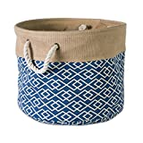 DII Collapsible Burlap Storage Basket or Bin with Durable Cotton Handles, Home Organizational Solution for Office, Bedroom, Closet, Toys, & Laundry (Medium Round - 15x12''), Diamond Navy