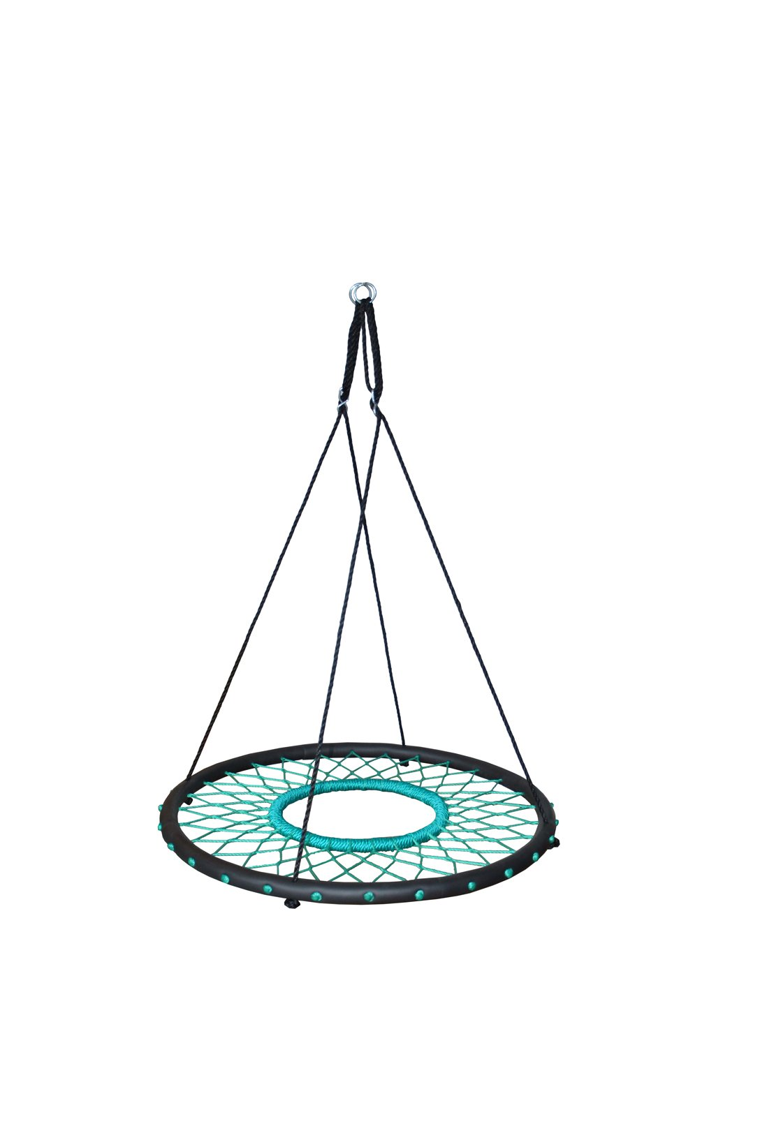Swinging Monkey Products Tarzan Tire 40'' Spider Web Swing, Green – Tree Swing, Redesigned Tire Swing, Extra Safe and Durable, Swing with Friends, Easy Install for Swing Set or Tree