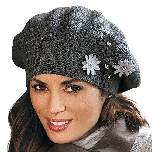 Kamea Delfina Baskenmütze Damen Kopfbedeckung Winter Barett Flauschapplikation Blumen Musterlos EU, Dunkelgrau,UNI