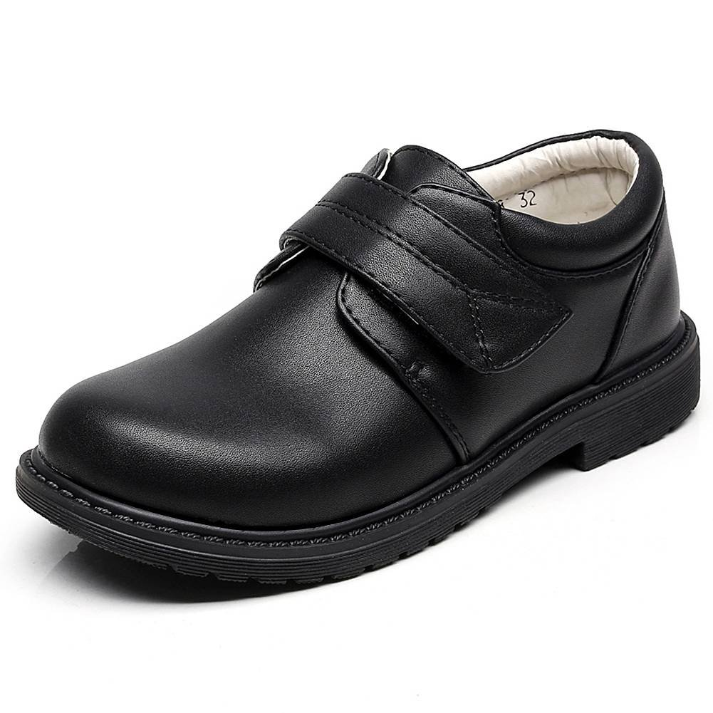 rismart Boys' Hook&Loop Formal Prince Round Toe Oxfords Dress Shoes 80015C(Black,1 M US Little Kid)