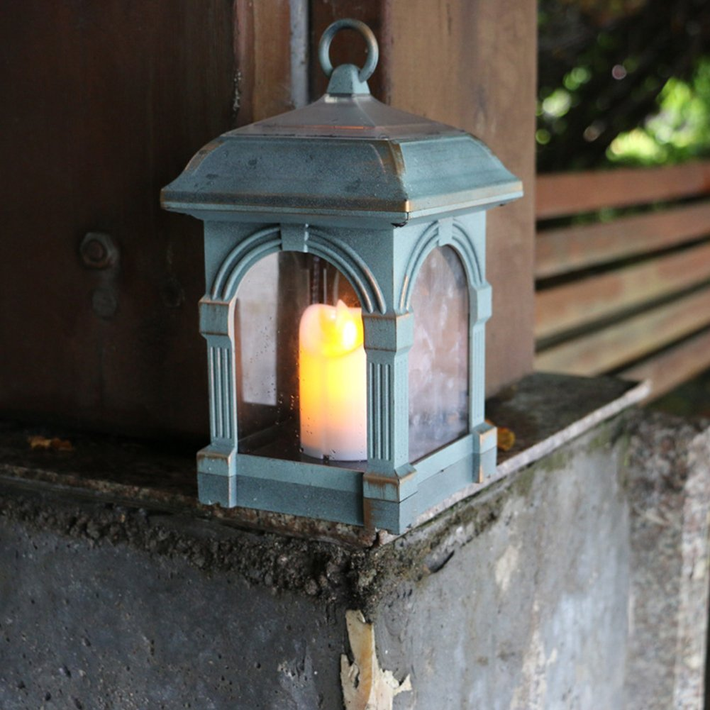 Outdoor Solar-Powered Waterproof Simulate Swing Candle Light Night Lamp Decoration(Bronze Colour)