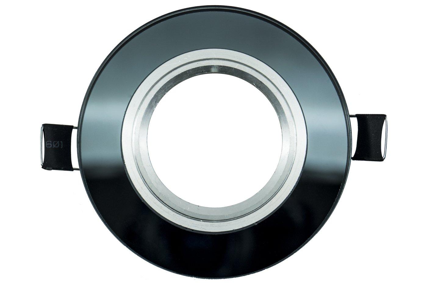 Portafaretto incasso led specchio nero rotondo alette lm