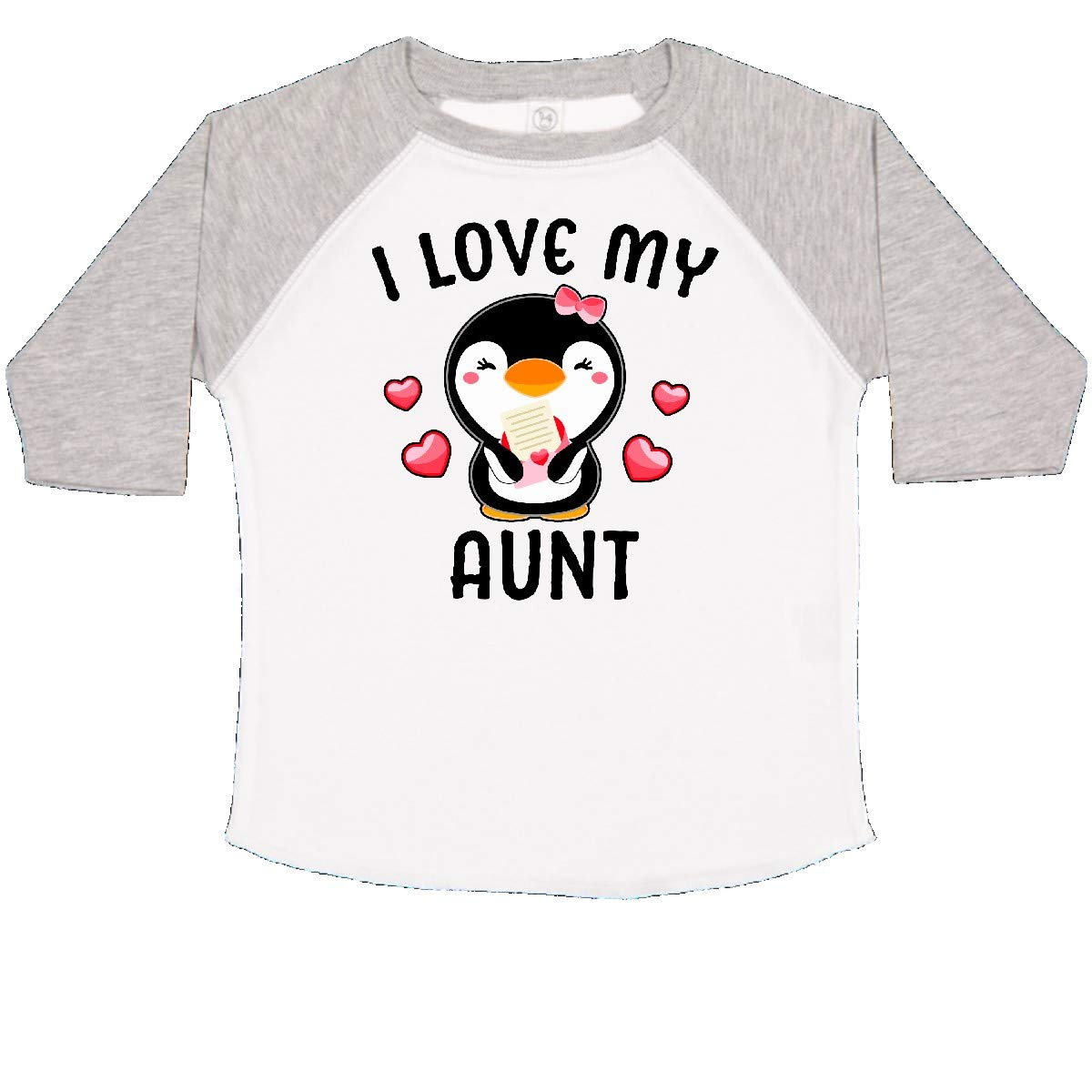 inktastic I Love My Aunt with Cute Penguin and Hearts Toddler T-Shirt